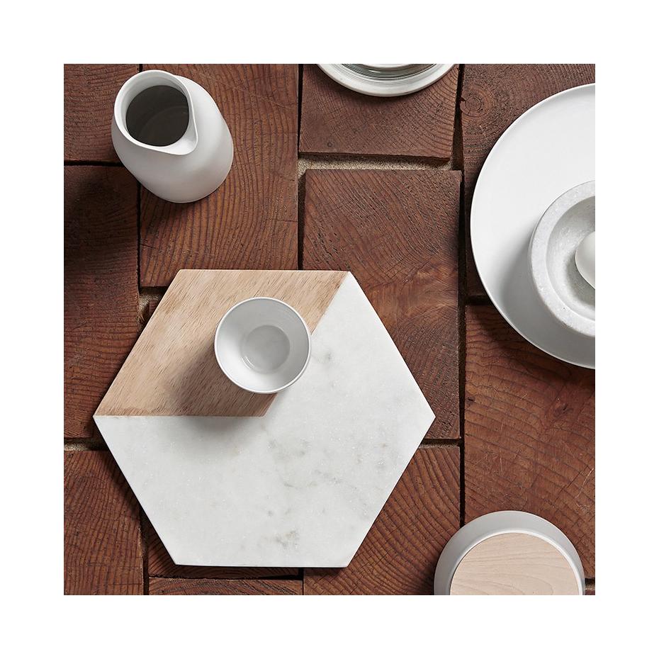 Planche d couper hexagonale marbre et bois for Planche a decouper marbre