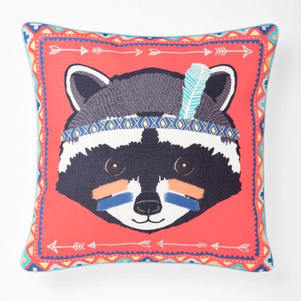 Tribal raccoon cushion