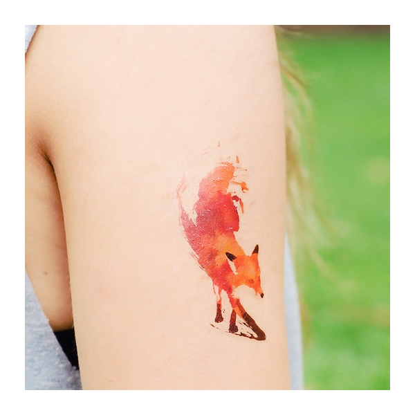 Watercolor Fox Temporary Tattoo By Dottinghill