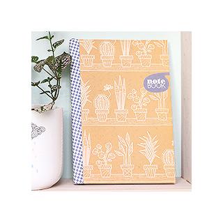 Pilea & cactus notebook