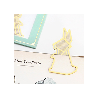 Gold bookmark - rabbit