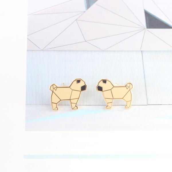 Origamu pug - studs