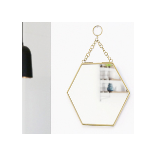 Hexagonal mirror - brass