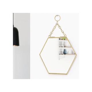 Hexagonal mirror -brass