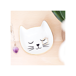 White cat trinket dish
