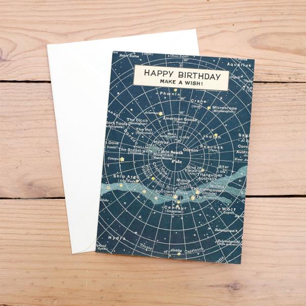 Birthday Star Map.Vintage Celestial Chart Birthday Card By Cavallini