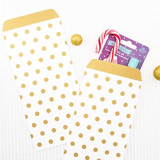 Pochettes cadeaux - pois dorés