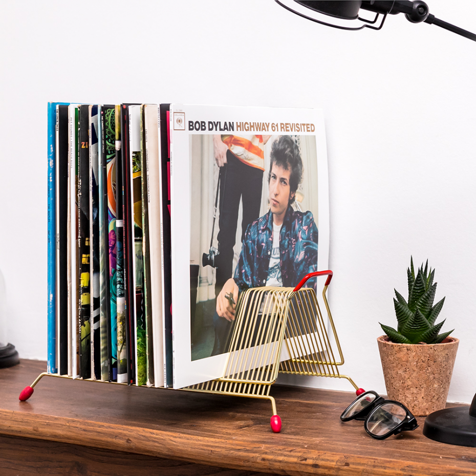 rack vintage m tal dor rangement disques vinyles. Black Bedroom Furniture Sets. Home Design Ideas