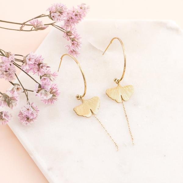 Long earrings Ginkgo