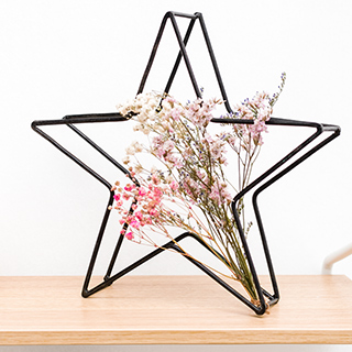 Black star and dried flowers