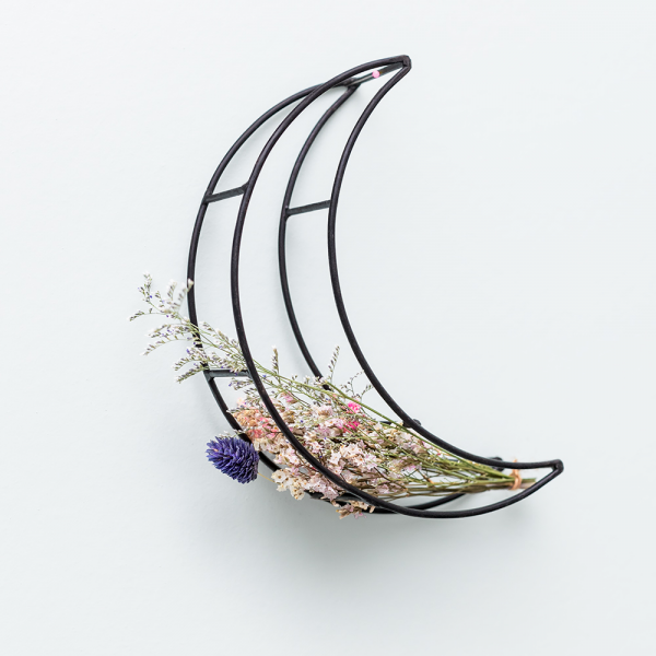 Black moon and dried flowers