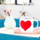 Tasse en émail - coeur rouge