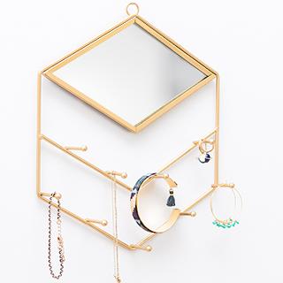 Portant à bijoux mural - Diamant doré