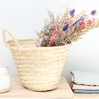 Palm basket with handles (small)