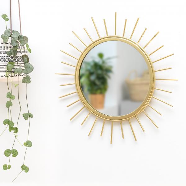Miroir soleil doré