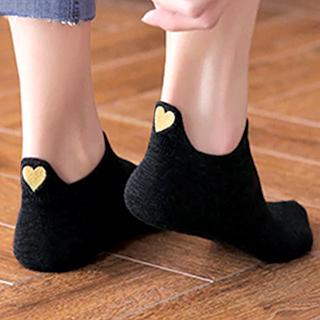 Ankles socks - Embroidered gold hearts