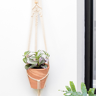 Macrame and wood wall plant hanger