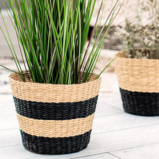 Black stripe seagrass planter (large)