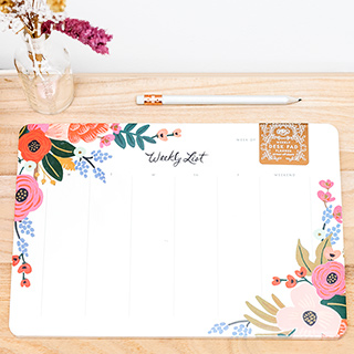 Weekly desk pad - Lively floral