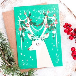 Christmas card - Festive antlers