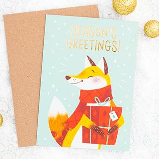 Christmas card - Season's greetings (fox)