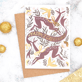 Christmas card - Season's greetings (deers)