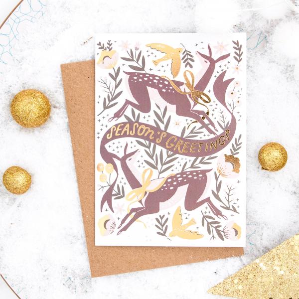 Christmas card - Season's greetings (deers)