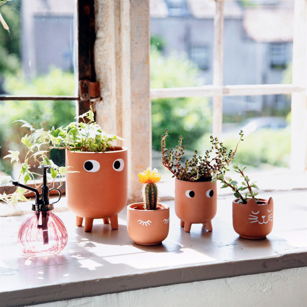 Terracotta planter - Eyes shut