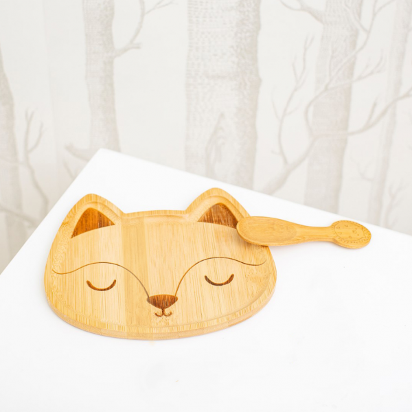 Bamboo plate - Woodland fox