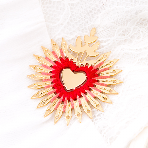 Large pin brooch - Coeur flamboyant