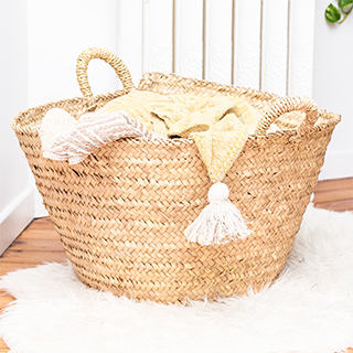 Large palm basket with handles