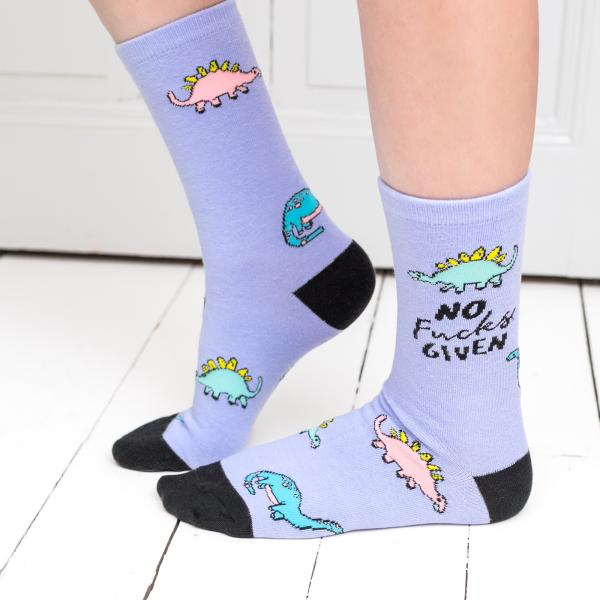 Punky Pins socks - Dino No fucks given