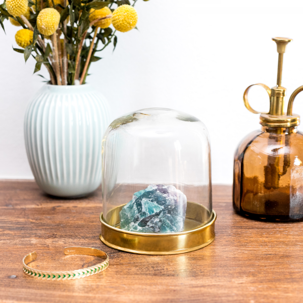 Glass cover with gold tray
