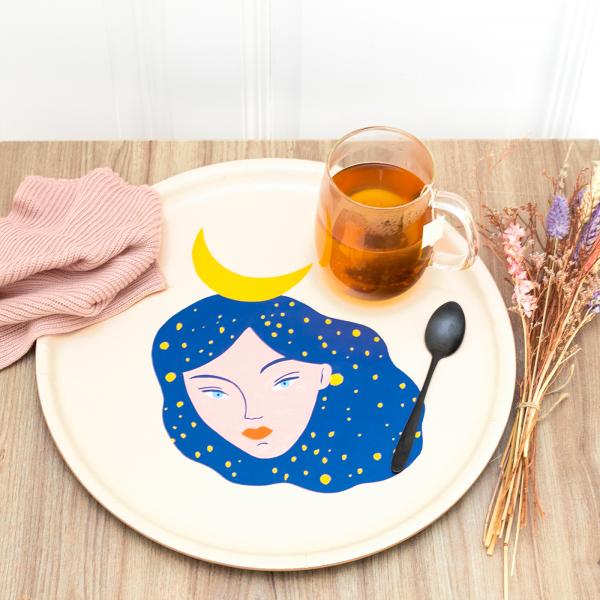 Large round tray - Nuit
