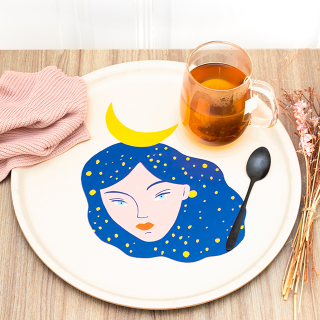 Large round tray - Nuit
