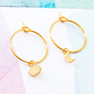 Hoop earrings - Moon & sun