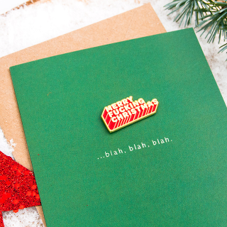Greeting card + enamel pin -  Merry fucking Christmas