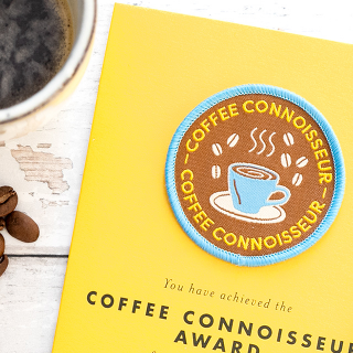 Card and woven patch - Coffee connoisseur award