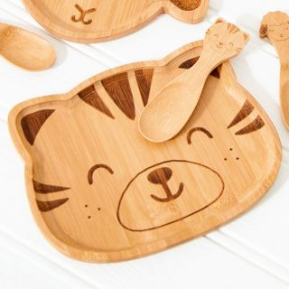 Bamboo plate - tiger cat