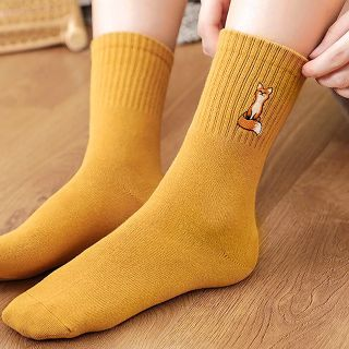 Socks - Embroidered fox