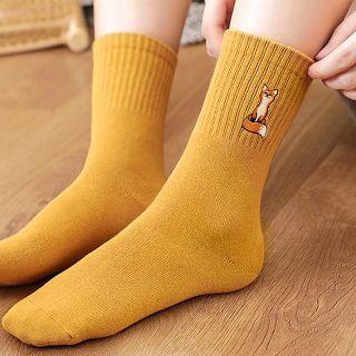Socks - Embroidered fox