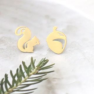 Squirrel and acorn studs