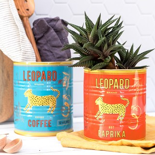 Storage tin set - Leopard coffee & paprika