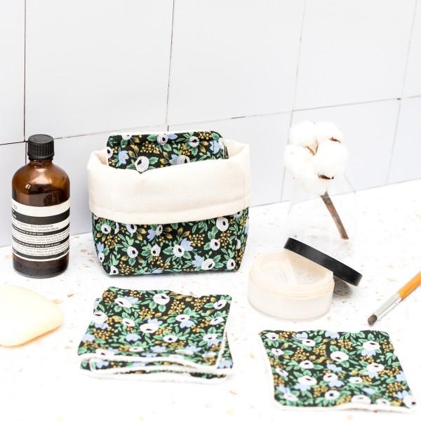 Reusable makeup remover pads - Rifle paper (Rosa black)