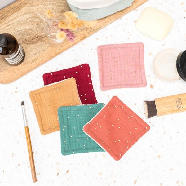 Reusable makeup remover pads - golden dots v.2