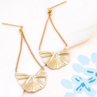 Long chain earrings - Ginkgo Biloba