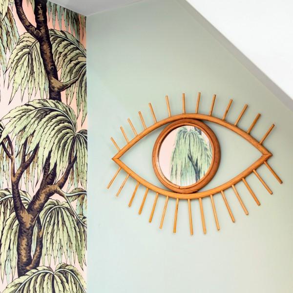 Rattan mirror - Eye