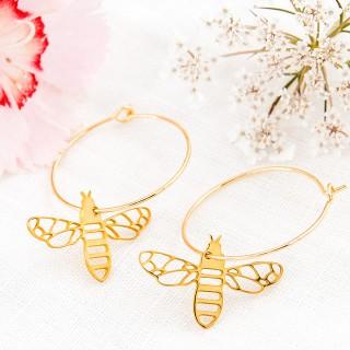 Hoop earrings - Golden bees