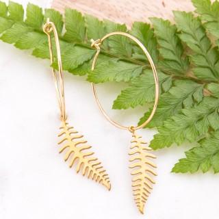 Hoop earrings - Golden fern