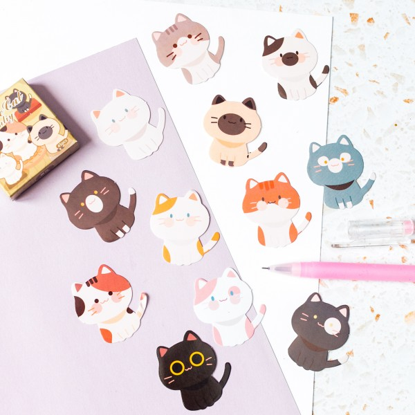 Stickers kawaii - Cat family